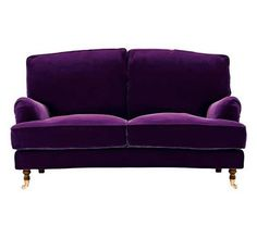 A purple velvet couch.love the lines, but they have a claret color I love better Furniture Styles, Home Decor Furniture, Purple Sofa, Purple Velvet, Velour Sofa, Velvet Couch, Purple Pages, Purple Furniture, Small Sofa