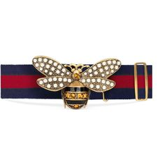 5484e31bf35 Gucci Web Belt With Bee ( 650) ❤ liked on Polyvore featuring accessories