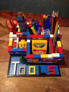 Lego pencil and school supply organizer desk