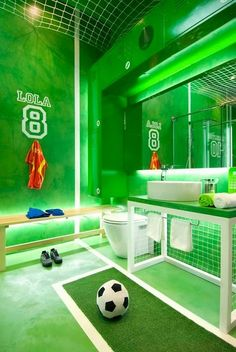 Extreme Interior Design: Sports Meet Bathroom Decor feel like you're at the soccer world cup in this bathroom!… Extreme Interior Design: Sports Meet Bathroom Decor from Bathroom Bliss by Rotator Rod Soccer Bedroom, Football Bedroom, Soccer Room Decor, Lego Room Decor, Football Rooms, Sports Bathroom, Boy Room, Kids Room, Football Themes