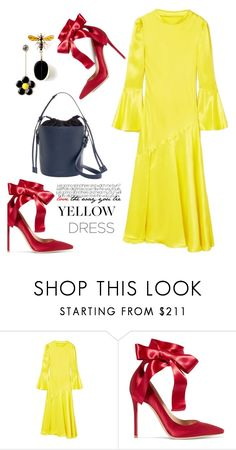 """""""In La La Land: Yellow Dresses"""" by hamaly ❤ liked on Polyvore featuring Gianvito Rossi, outfit, ootd, dresses and yellowdress"""
