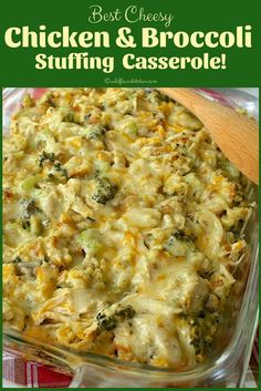 casserole recipes This creamy, delicious, Best Cheesy Chicken Broccoli Stuffing Casserole, is just the ticket when you need a little comfort food, and the weather just isn't ideal to Easy Casserole Recipes, Casserole Dishes, Chicken Broccoli Stuffing Casserole, Hamburger Casserole, Stuffing For Chicken, Crockpot Chicken Broccoli, Chicken With Broccoli, Cream Of Broccoli Recipe, Meals With Chicken