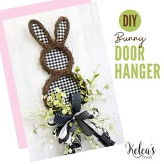 This simple project takes a plain bunny door hanger to the next level with floral stems and quick bow. We love the classic black and white design! Spring Decorations, Spring Wreaths, Black And White Design, Easter Decor, Easy Projects, Door Hangers, Stems, Easter Bunny, Diys