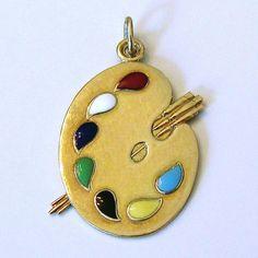 Vintage 14K Gold Enameled Artist's Paint Palette Charm/Pendant 3.9 from charmalier on Ruby Lane