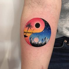 Mini vacation landscape tattoo by Daria Stahp Arm Tattoo, Body Art Tattoos, New Tattoos, Sleeve Tattoos, Tattoo Moon, Spine Tatto, Yin Yang Tattoos, Silhouette Tattoos, Trendy Tattoos