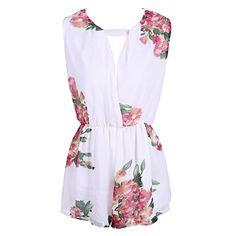 SUNNOW® Elegant Damen Jumpuist Ärmellos Blumen bedruckt Rückenfrei Plalysuit Chiffon Shorts Frauen Overall Sommer (EU 38, 1 Weiß)