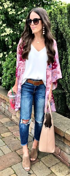 #fall #outfits women's white v-neck shirt and pink cardigan