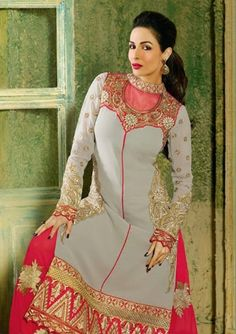 Gray and Pink Colour Malaika Arora Suit Semistiched Suit, can be stiched upto 42 Top : GeorgetteBottom : ShantoonDupatta : Chiffon