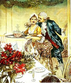Digital Art CHRISTMAS 1800s Regency His & Her Food Feast Scene Greetings Card, for Collage, Scrapbooking, Christmas Cards Retro Clothing, Retro Outfits, Regency, Christmas Cards, Digital Art, Greeting Cards, Scrapbooking, Collage, Scene