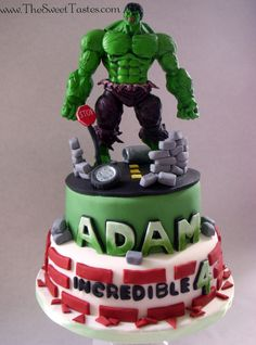 Incredible  Hulk birthday cake www.TheSweetTastes.com