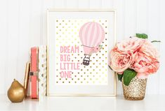 Dream Big Little One Hot Air Balloon Pink and by LiviLouDesigns