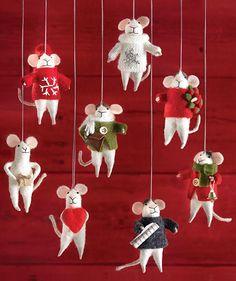 Martha Stewart Living™ Magnolia Mouse Festive Mouse Ornament - Fabric Ornaments - Christmas Mouse Ornaments - Christmas Tree Ornament - Holiday Decorations | HomeDecorators.com