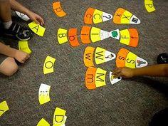 candy corn puzzles -wonderful literacy centers for Kindergarten! Halloween Activities, Autumn Activities, Preschool Halloween, Preschool Ideas, Halloween Letters, Preschool Games, Happy Halloween, Craft Ideas, Literacy Stations