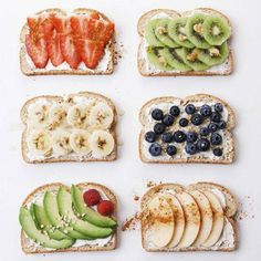 Here are 6 super creative breakfast toast recipe ideas to start the New Year right. So tasty and healthy! Can make with your favorite bread but recommend bread with whole grains. Perfect to eat with eggs during breakfast or eat alone as a snack. Breakfast Desayunos, Breakfast Recipes, Breakfast Ideas, Breakfast Healthy, Vegetarian Breakfast, Vegan Vegetarian, Clean Eating Snacks, Healthy Snacks, Healthy Recipes