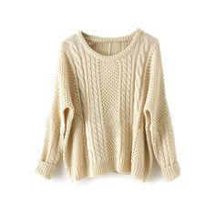 SheIn(sheinside) Apricot Batwing Long Sleeve Pullovers Sweater (£13) ❤ liked on Polyvore featuring tops, sweaters, shirts, beige, long sleeve shirts, long sleeve pullover, beige sweater, batwing sweater and batwing shirt