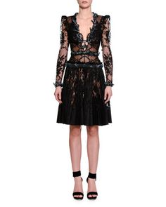 Long-Sleeve+Embellished-Butterfly+Lace+Dress,+Black+by+Alexander+McQueen+at+Neiman+Marcus.