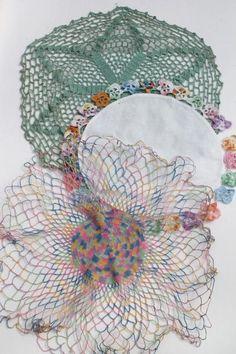 cotton lace crochet doilies lot, vintage pansies flower doily, rainbow thread doily