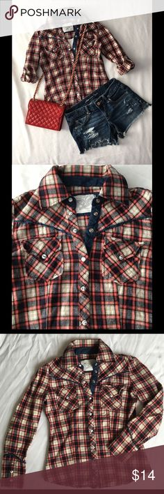 Cute Western Style Plaid Flannel Shirt This western style plaid shirt has snap button closure. Can be worn as long sleeve or rolled up and secured as short sleeve.  The only sign of wear is on the right sleeve, one of the top white parts of the snap button is missing.  See last pic. Size M, but fits like a Small. No trades. New York Denim & Clothing Co. Tops Button Down Shirts