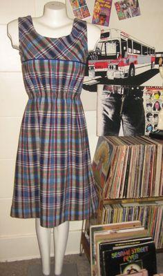 vintage 60s wool plaid jumper dress by lovestoryvintage on Etsy, $25.00