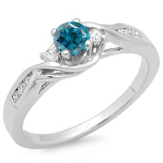 0.50 Carat (ctw) 10K Rose Gold Round Blue & White Diamond Ladies Crossover Swirl 3 Stone Bridal Engagement Ring 1/2 CT - Dazzling Rock
