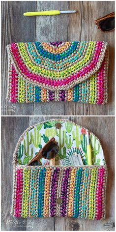 Rica Colorful Purse Free Crochet Pattern Diy Crochet Bag, Crochet Pouch, Crochet Shell Stitch, Crochet Quilt, Crochet Gifts, Cute Crochet, Crochet Motif, Crochet Stitches, Crochet Clutch Pattern