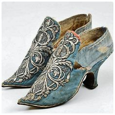 Embroidered woman's shoes. Late-Ottoman fashion, from Bursa, 1900-1925. The model is French, the 'goldwork' embroidery is Turkish/Ottoman. (Uluumay Museum, Bursa).