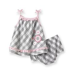 Product: Little Me® Baby Girls' Grey Checkered Sunsuit