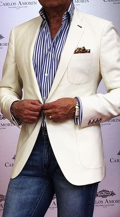 Blazer outfits men - White Custom Made Jacket for Men Blazer Outfits Men, Mens Fashion Blazer, Suit Fashion, Casual Outfits, Jeans Fashion, Stylish Men, Men Casual, Shirt Alterations, Terno Slim