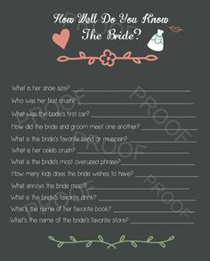 DIY Printable Shower Game - Bride Quiz- Wedding Shower Games - Printable Wedding Shower I like some of the questions but not all of them. Bridal Shower Question Game, Fun Bridal Shower Games, Perfect Wedding, Dream Wedding, Our Wedding, Wedding Ideas, Tulle Wedding, Wedding Stuff, Wedding Planning