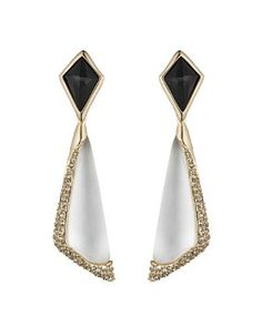 Alexis Bittar New Angular Earrings White And Black Crystal Encrusted Clip-on on Sale, 35% Off | Bridal Jewelry & Accessories on Sale at Tradesy