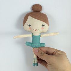 Small Blue Ballerina Stuffed Doll Handmade by miomucaro on Etsy