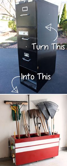 Old File Cabinet Converted to Garage Storage