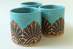 Handmade Moroccan Lace Tumbler in Turquoise by burningforkstudio