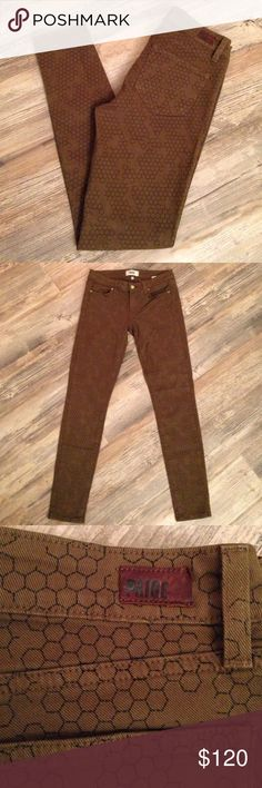 """🐝 Paige Verdugo Ultra Skinny honeycomb jeans Brand new condition. Worn one time, washed one time, hung dry. Zero wear on these babies. Awesome and rare honeycomb pattern. 🐝 Please your bees! 30"""" waist but 8"""" rise (so these are low rise), 29 1/2"""" inseam. 98% cotton, 2% elastane. These are a brownish olive green color. Paige Jeans Jeans Skinny"""