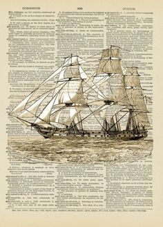 USS Constitution is a wooden-hulled, three-masted heavy frigate of the United States Navy. A vintage illustration printed directly on a repurposed rescued book page.