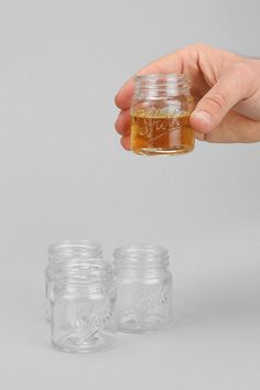 These cool new Mason Jar Shot Glasses let you enjoy your illicit hillbilly hooch and other fine liquors in two ounce shots of moderation. These mini canning jars are great alternatives to chugging moonshine from a full-sized mason jar and then going blind Kitsch, Mason Jars, Canning Jars, Just In Case, Just For You, Planning Menu, Shot Glass Set, Take My Money, The Ranch