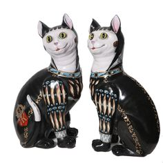 Pair Of Galle Faience Cats. France, c1890-1900.