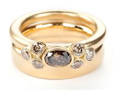 Seven Bud Yellow Gold Brown Diamond Ring Set : Miiri Damer - Contemporary Cornish Jeweller
