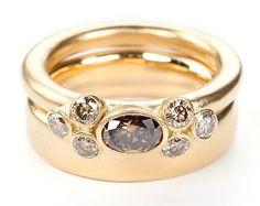 Seven Bud Yellow Gold Brown Diamond Ring Set : Miiri Damer - Contemporary Cornish Jeweller