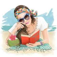New York City based artist Inslee Fariss creates watercolor illustrations for weddings, events, brands and fine art commissions Reading Art, Woman Reading, Beach Reading, Reading Books, Art And Illustration, Arte Fashion, Ideias Fashion, I Love Books, Good Books