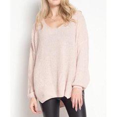Oversized Knit Sweater - Pale Pink