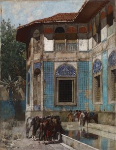 Alberto Pasini  A little known Orientalist painter, the bulk of his canvases are exquisitely detailed and colorful architecture of the Middle East. His paintings have an extraordinary surface quality to them, almost like lacquered jewels. Seeing them on screen does them very little justice.