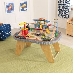Transportation Station Train Set u0026 Table & Airport Express Train Set and Table in Espresso for Kids | Airport ...