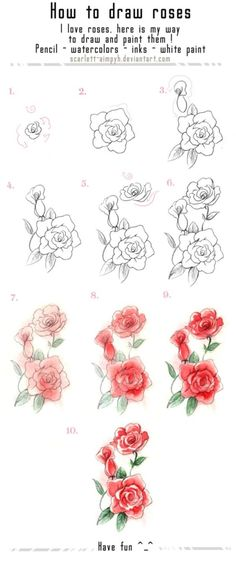 51 Ideas For Drawing Flowers Sketches Rose Tutorial Plant Drawing, Painting & Drawing, Watercolor Paintings, Drawing Drawing, Watercolor Rose, Texture Drawing, Tattoo Watercolor, Pencil Painting, Watercolor Artists
