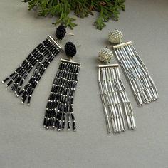 Items similar to Black earrings Silver earrings Fringe earrings Tassel earrings Beaded earrings long earrings Oscar de la Renta earrings Dangle earrings on Etsy Seed Bead Jewelry, Bead Jewellery, Seed Bead Earrings, Diy Earrings, Unique Earrings, Earrings Handmade, Beaded Jewelry, Beaded Earrings Patterns, Beaded Tassel Earrings