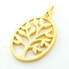 Joyas de Acero-Colgantes-PA0290D. Colgante acero dorado, forma ovalada y 4 cm de largo diseño árbol de la vida