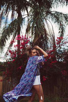Wild Magnolia Long Kimono in Oasis