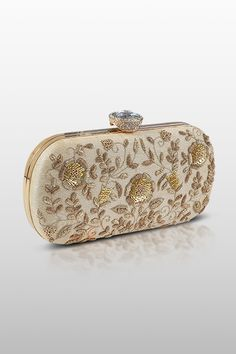 326bf3e23 B17-04 - Raw silk metal frame clutch embellished with zardosi and sequins  highlighted with