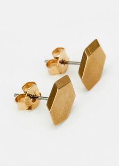 Best Valentine's Day Gifts Under $100: Maslo Jewelry Hexagonal Brass Studs, $22