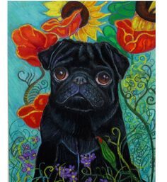 Pug Dog Drawings | Black Pug In Poppies and Sunflowers ORIGINAL Dog Art Painting